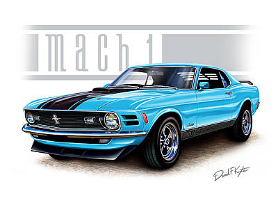 Mustang Car Painting - 1970 Mustang Mach 1 Blue by David Kyte