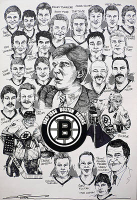 Nhl Hockey Drawing - 1988 Boston Bruins Newspaper Poster by Dave Olsen