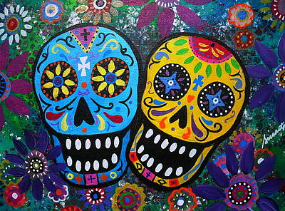 Carter House Painting - Couple Day Of The Dead by Pristine Cartera Turkus