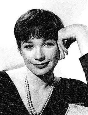 Musicians Drawings - Shirley MacLaine by John Springfield by Esoterica Art Agency