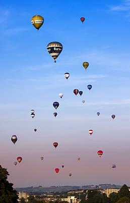 Colorful Balloons On Colorful Sky Art Print by Angel  Tarantella