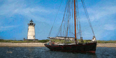 Lighthouses Mixed Media - Edgartown Light by Michael Petrizzo