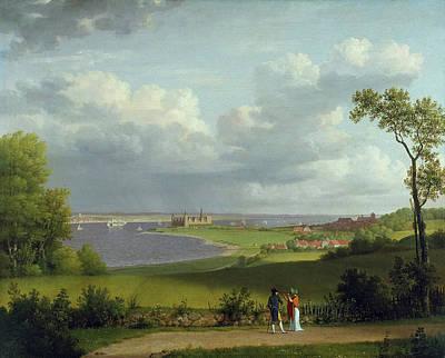Painting - View North Of Kronborg Castle by Christoffer Wilhelm Eckersberg
