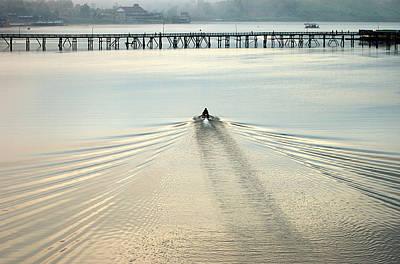 A Boat Approaching Mon Bridge In Sangkhlaburi Art Print
