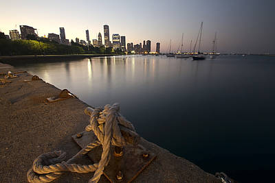 a Boat dock and Chicago skyline at dusk Art Print