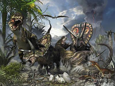 Chemical Glassware - A Family Of Torosaurus Protecting by Kurt Miller