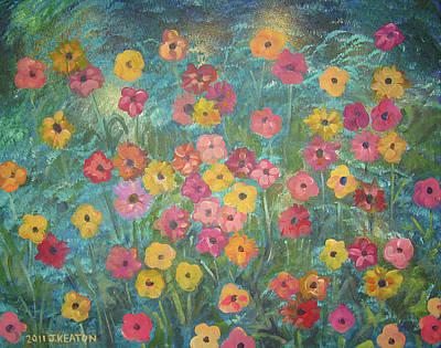 A Field Of Flowers Art Print by John Keaton