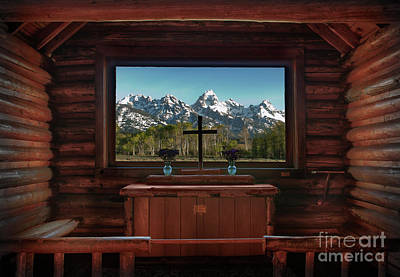 Log Cabin Art Photograph - A Pew With A View by Sandra Bronstein