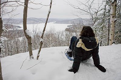 Laurentians Photograph - A Woman Admires A View On A Winter Day by Taylor S. Kennedy