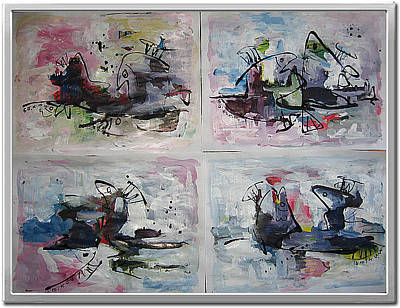 Set Of Four Painting - Abstract Sketch246 by Seon-Jeong Kim