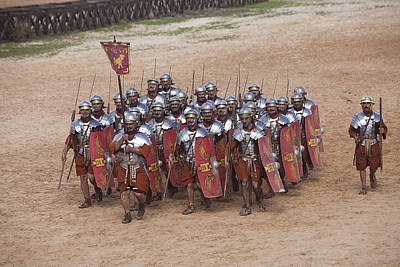Reconstruction Photograph - Actors Re-enact A Roman Legionaries by Taylor S. Kennedy