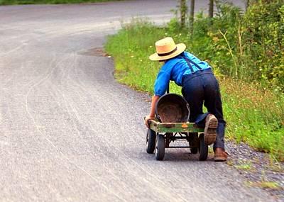 Amish Boy And Wagon Original by Randy Matthews