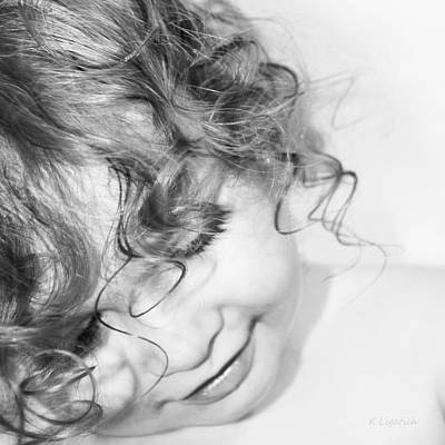 An Angels Smile - Black And White Art Print by Kerri Ligatich