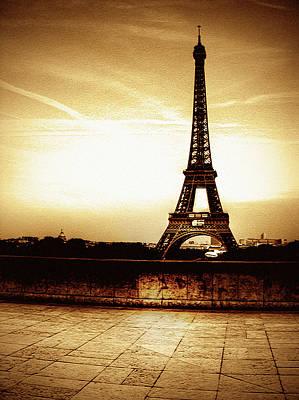Built Structure Photograph - Ancient Paris Tour Eiffel by Noovae