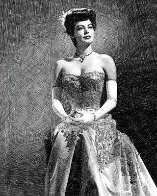 Musicians Drawings - Ava Gardner, Vintage Actress by JS by Esoterica Art Agency