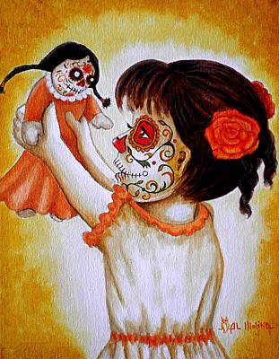Dancing Girl Painting - Bailando Con Mi Muneca  by Al  Molina
