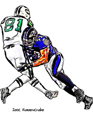 Baltimore Ravens  Ray Lewis - New York Jets Dustin Keller Art Print by Jack K