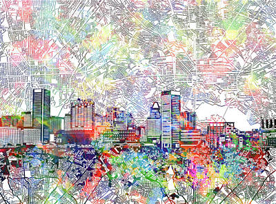 Abstract Skyline Royalty-Free and Rights-Managed Images - Baltimore Skyline Watercolor 11 by Bekim M