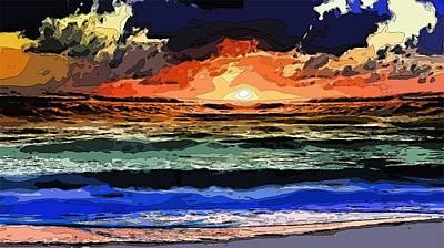 Digital Art - Beach Sunset by Mitchell Gibson