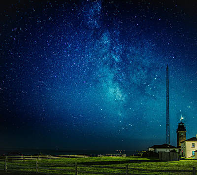 Photograph - Beavertail Light And The Milky Way by Myer Bornstein