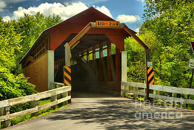 Photograph - Bedford Herline Covered Bridge by Adam Jewell