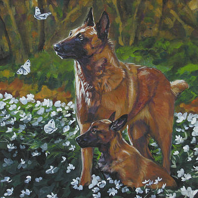 Belgian Malinois Painting - Belgian Malinois With Pup by Lee Ann Shepard