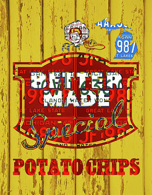 Snack Mixed Media - Better Made Potato Chips Michigan License Plate Art by Design Turnpike