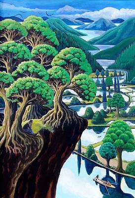 Rice Paddy Painting - Beyond The Paddy Fields by Stanalec Roberts