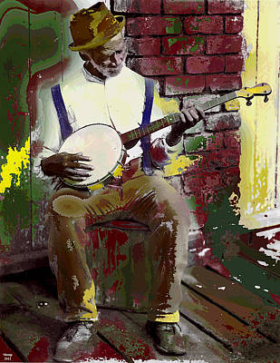 Black Banjo Man Art Print