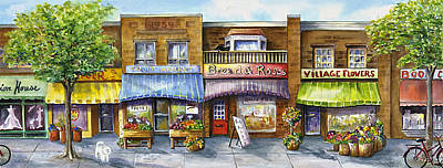 Art Print featuring the painting Bloorwest Village  by Margit Sampogna