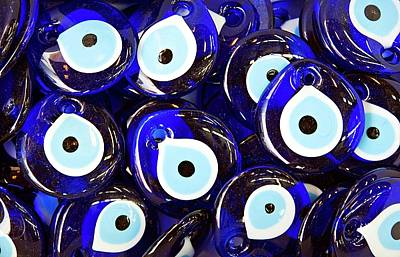 Ceramics Photograph - Blue Turkish Evil Eyes by Paul Biris