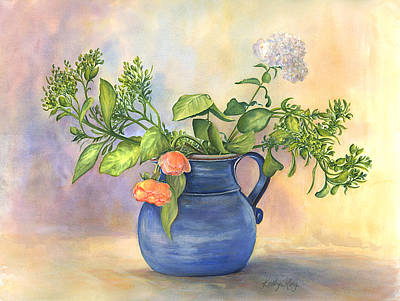 Two Vases Painting - Blue Vase With Two Roses by Kathy Harker-Fiander