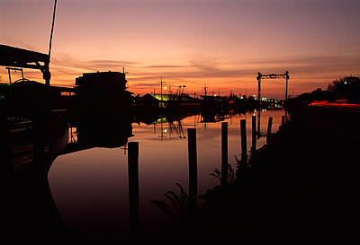 Boats And Houses At Sunset Art Print by Medford Taylor