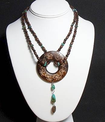 Nugget Necklace Jewelry - Bohemian Wood And Turquoise Necklace by Audra Ferlan
