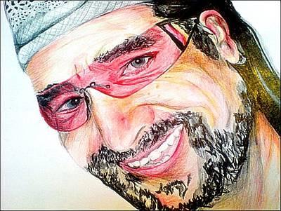 U2 Drawing - Bono In Colour by Pauline Murphy