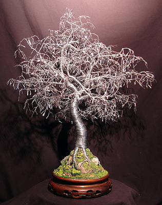 Sculpture - Bonsai With Hammered Leaves by Sal Villano