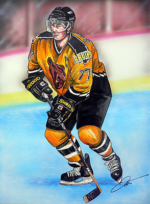 Nhl Hockey Drawing - Boston Bruins Ray Bourque by Dave Olsen