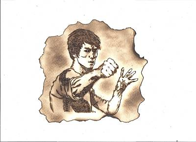 Pyrography Painting - Bruce Lee by Clarence Butch Martin