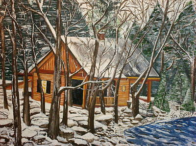 Painting - Cabin In The Woods by Jen Sparks