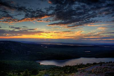 Art Print featuring the photograph Cadillac Mountain Sunset I Hdr by Greg DeBeck