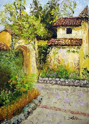 Carmel Mission Painting - Carmel Mission Garden by Arlon Rosenoff