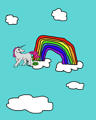 Puppy Digital Art - Cash Crap Unicorn by Jera Sky