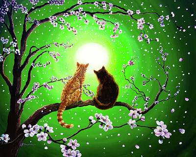 Laura Iverson Royalty-Free and Rights-Managed Images - Cats on a Spring Night by Laura Iverson