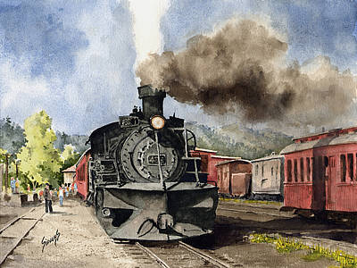 Railroad Painting - Chama Arrival by Sam Sidders