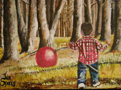 Painting - Chasing That Big Red Ball by Jen Sparks