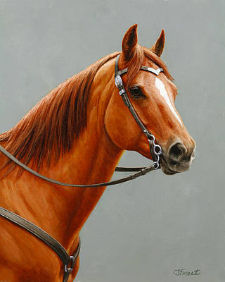 Chestnut Dun Horse Painting Art Print by Crista Forest