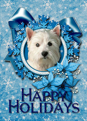 Christmas - Blue Snowflakes West Highland Terrier Art Print by Renae Laughner