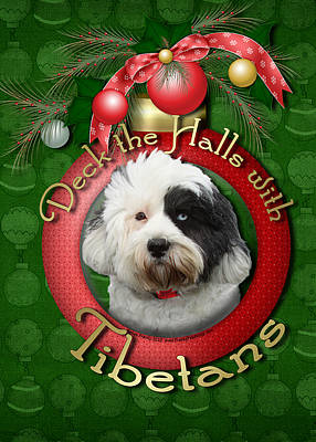 Terrier Digital Art - Christmas - Deck The Halls With Tibetans by Renae Laughner