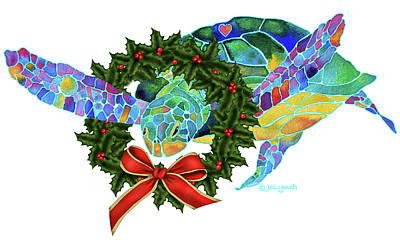 Christmas Holiday Sea Turtle Art Print by Jo Lynch