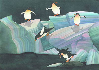 Painting - Christmas Penguins by Anne Havard